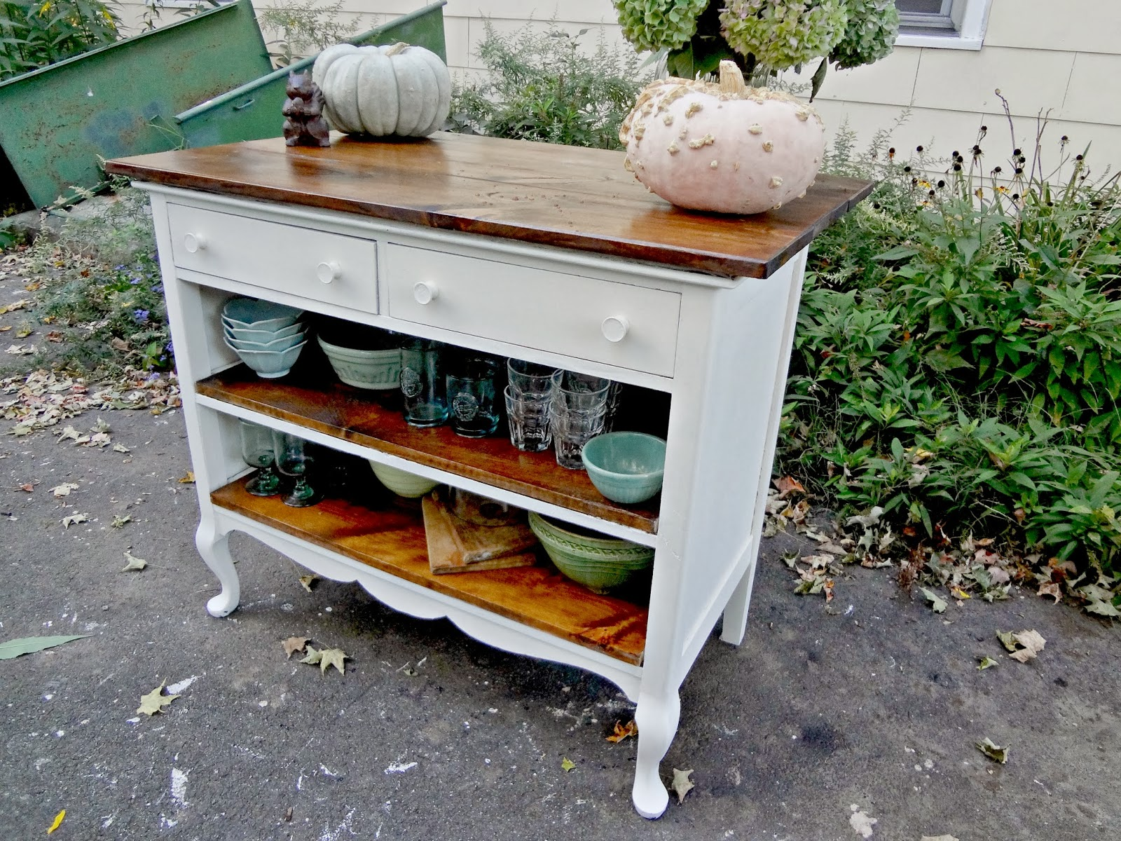 Heir and Space Antique Dresser Turned Kitchen Island