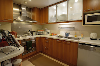 Kitchen in apartment at China World Apartments in Beijing