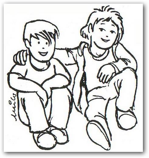 Imágenes de amistad para colorear | Dibujos para Colorear