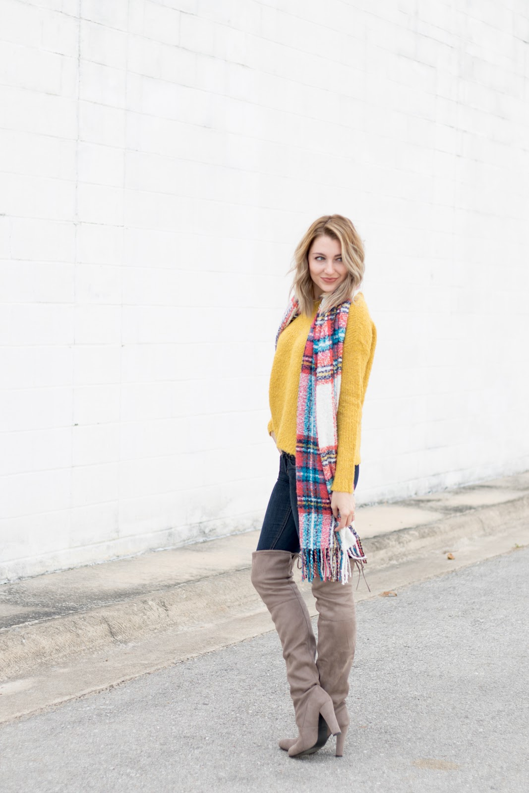 Colorful sweater and blanket scarf