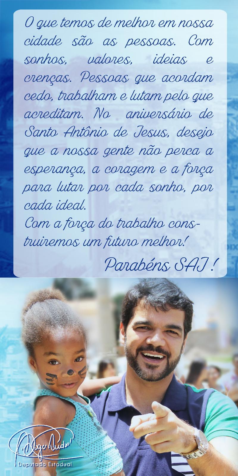 Mesnsagem do Deputado Estadual Rogério Andrade