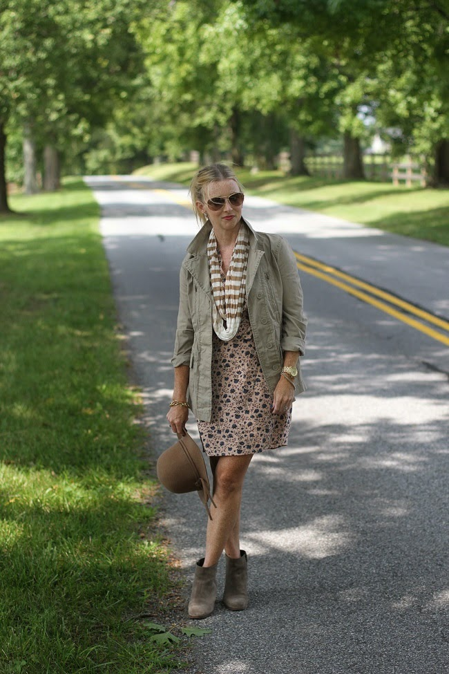loft floral dress, old navy utility jacket, jcrew booties, nordstrom floppy hat