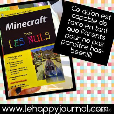 minecraft, minecraft pour les nuls, jeux, enfants, parents, happy journal