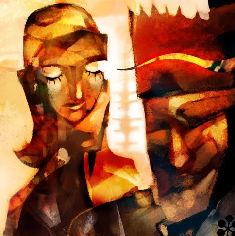 Stylized Portrait Of King And Queen With Closed Eyes
