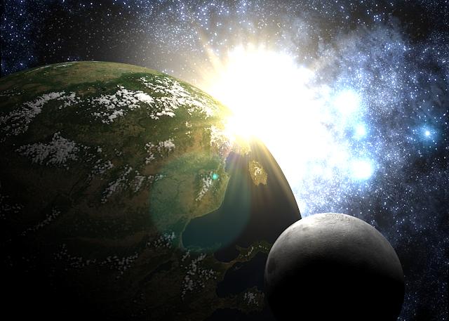 Luz de fótons sobre a Terra durante o exilio planetario, Terra em luz
