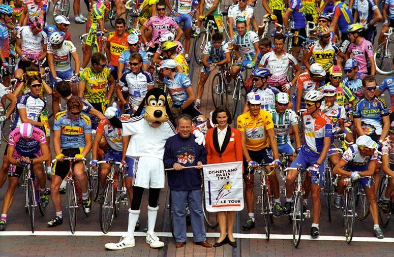 Goofy with Tour de France peloton