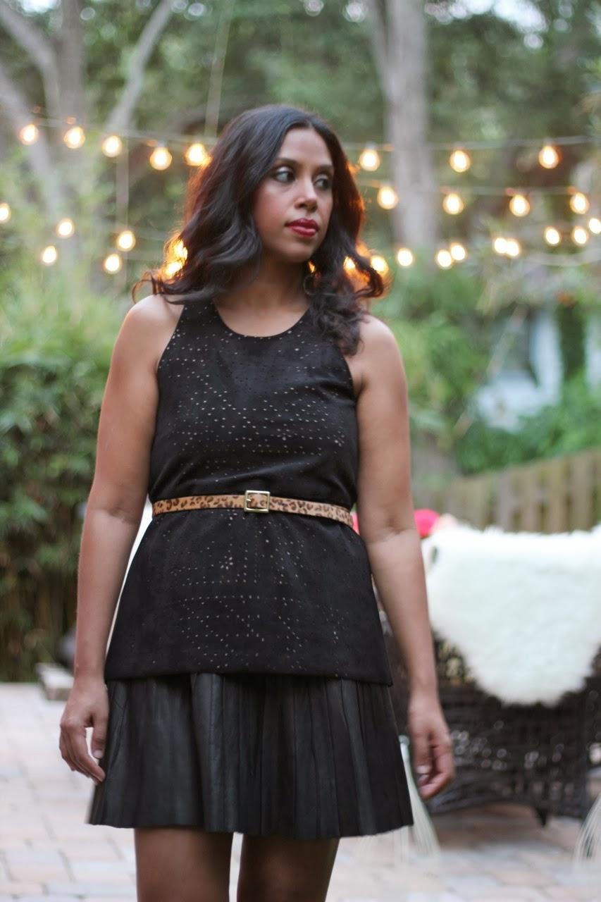 leather dress skirt bcbg perforated top gladiator sandals red lipstick dinner party  leopard belt