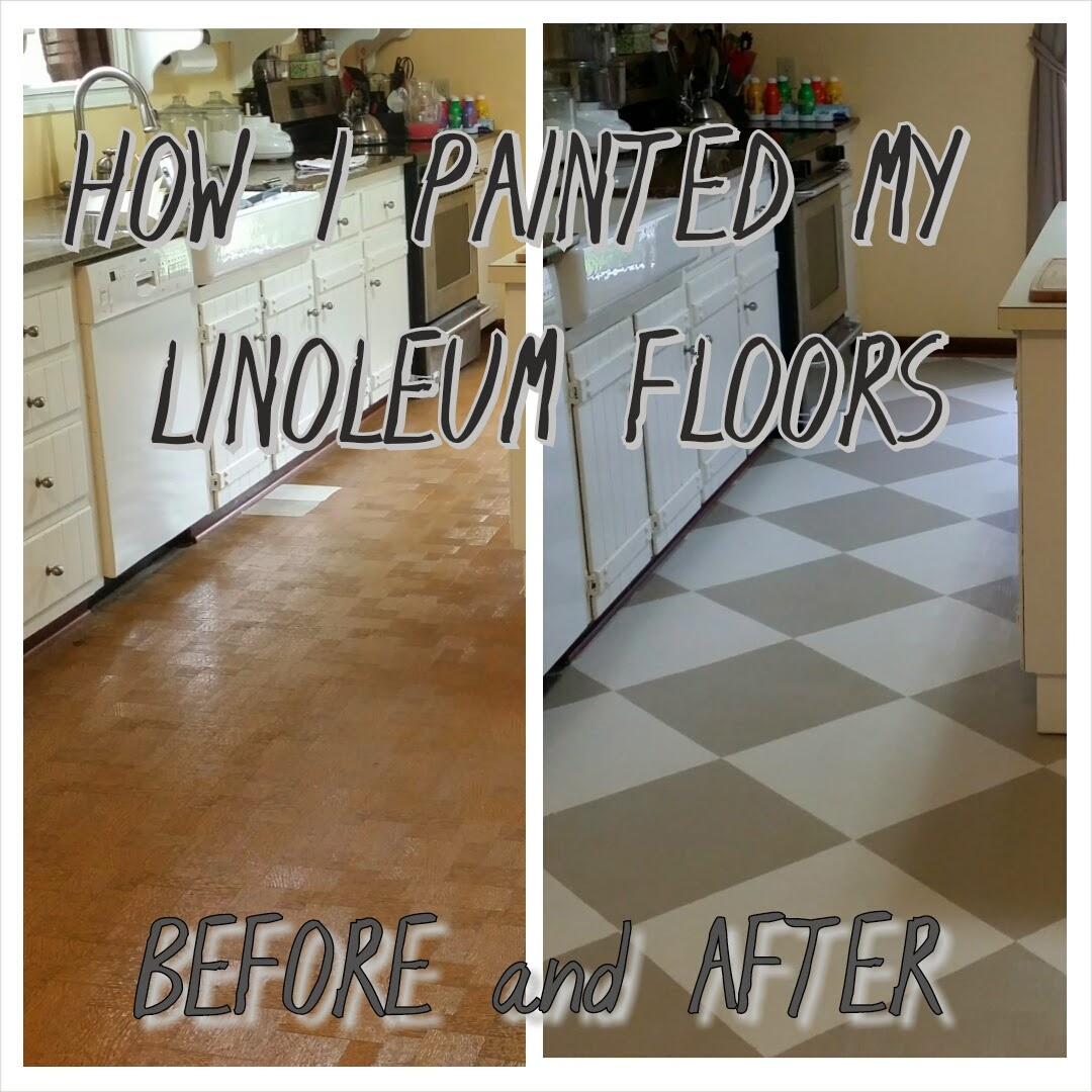 The virtuous wife how i painted my linoleum floors for Can you paint over vinyl flooring