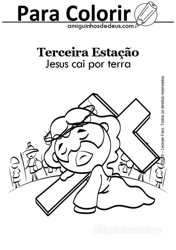 Via Sacra desenho para colorir - Jesus cai por terra