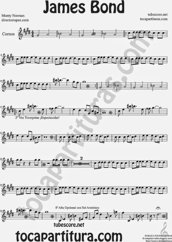"James Bond Partitura Flauta Travesera, Flauta Dulce, Flauta de Pico Sheet Music for Flute and Recoder Music Scores ¡Atención es tocapartituras.com con ""s""! (error en la partitura) James Bond Partitura Trompa y Corno Francés en Mi Bemol Sheet Music for French Horn Music Scores  ¡Atención es tocapartituras.com con ""s""! (error en la partitura)"