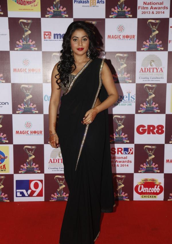 Poorna Latest Hot Glamour Black Saree