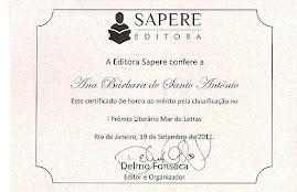 Participação I Prémio Literário Mar de Letras - Sapere Editora RJ Brasil