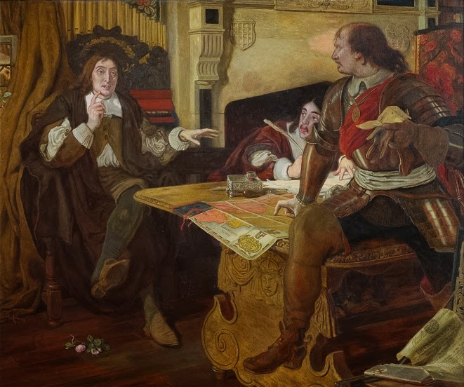 Ford Madox Brown's painting Cromwell, Protector of the Vaudois, depicting Milton (left), Cromwell and Andrew Marvell preparing their response to the massacre