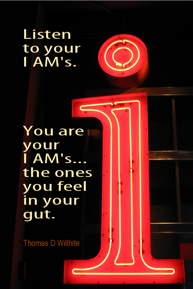 visual quote - image quotation for AFFIRMATIONS - Listen to your I AM's. You are you I AM's... the ones you feel in your gut. - Thomas D Wilhite