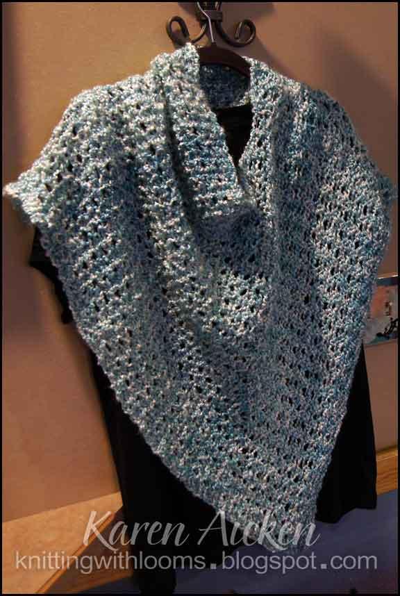 Loom Knitting Poncho : Knitting with looms aqua short poncho