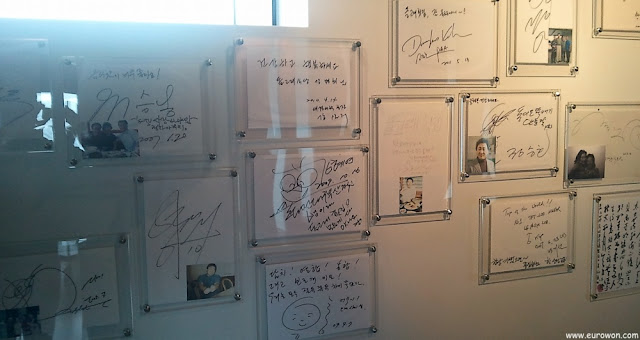 Firmas de coreanos famosos que fueron al restaurante Dolgorae