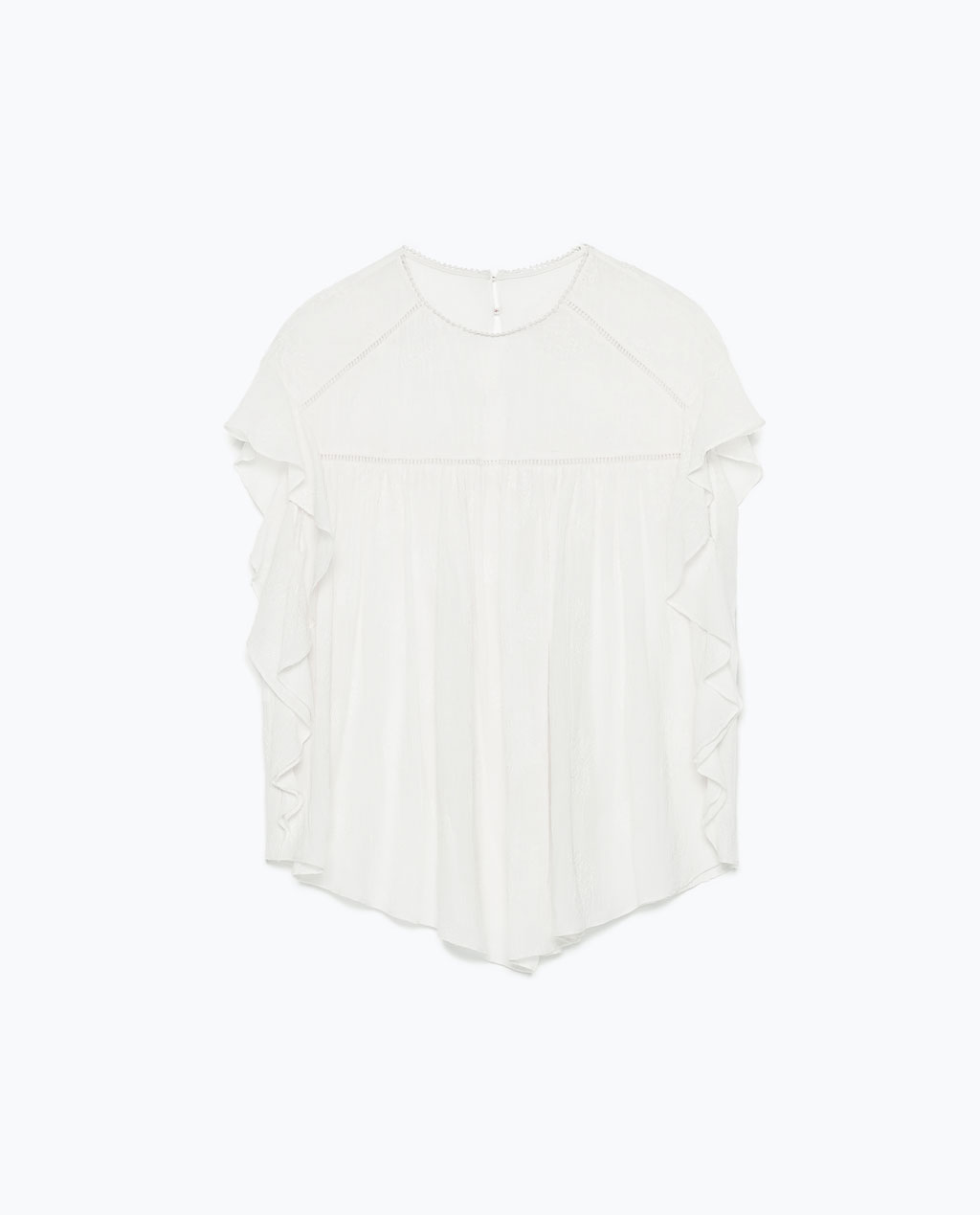 Zara Embroidered Frilly Top