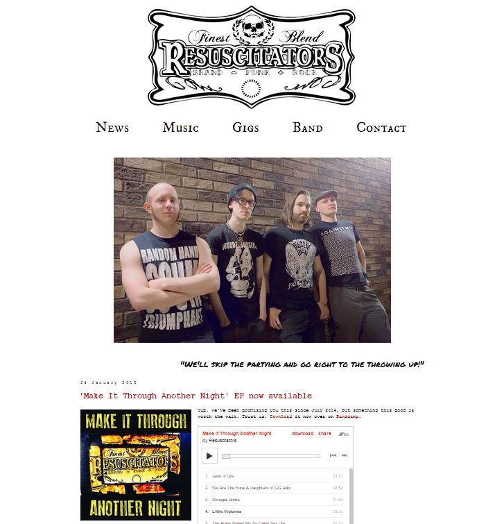 Resuscitators website by Bad Day Design