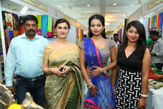 Actress Bhavya Sri  Pictures in Half Saree at Silk India Expo Launch   (9)
