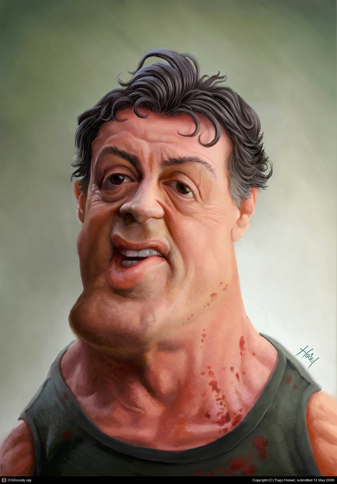 Caricature de Tiago Hoisel représentant Sylvester Stallone en Rambo