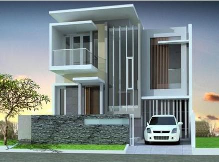 contoh design rumah lantai 2 minimalis modern gambar