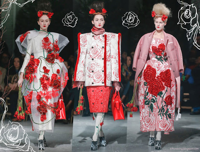 thom browne nyfw runway shots with white wacom rose drawing on photo