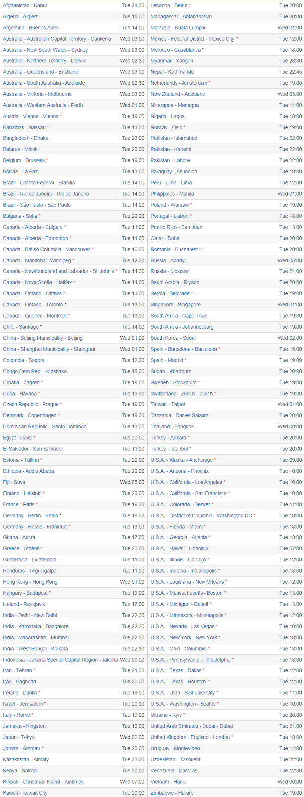 Apple September 9, 2014 Event Countries Local Time Zone Details