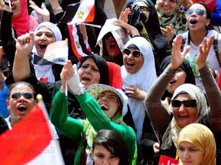 Protesters in Tahrir Square rejoice