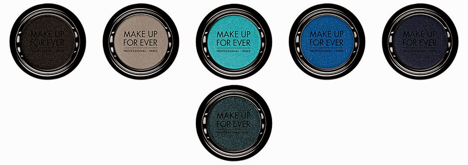 Make Up For Ever Artist Shadow  Top from left: S102 Onyx; S114 Pearl Gray; S208 Baby Blue; S214 Ultramarine Blue; S-226 Abyssal Blue Bottom from left: S228 Petrol Blue