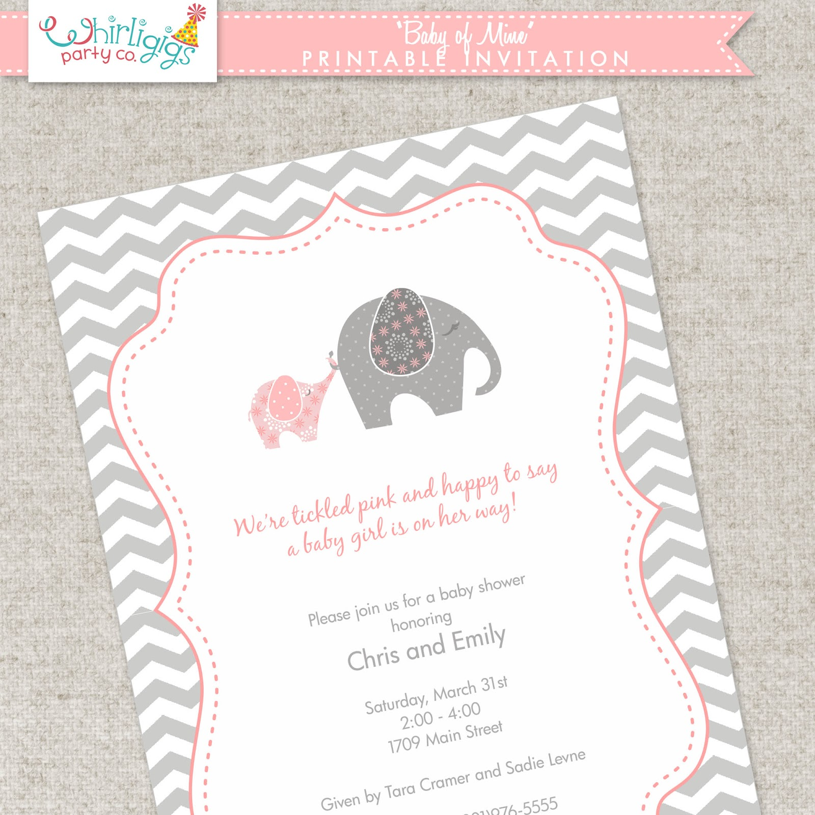 Whirligigs Party Co Elephant Baby Shower