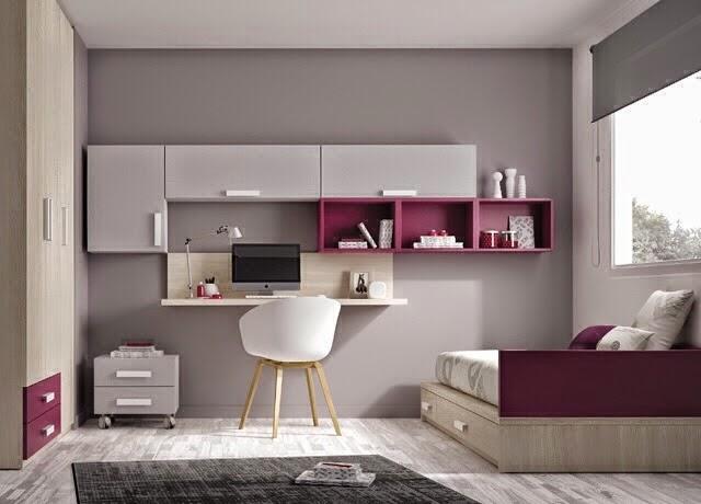 Dormitorio juvenil gris y berenjena for Dormitorio juvenil nina
