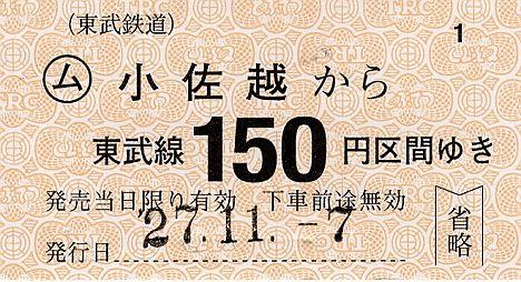 東武鉄道 常備軟券乗車券29 鬼怒川線 小佐越駅