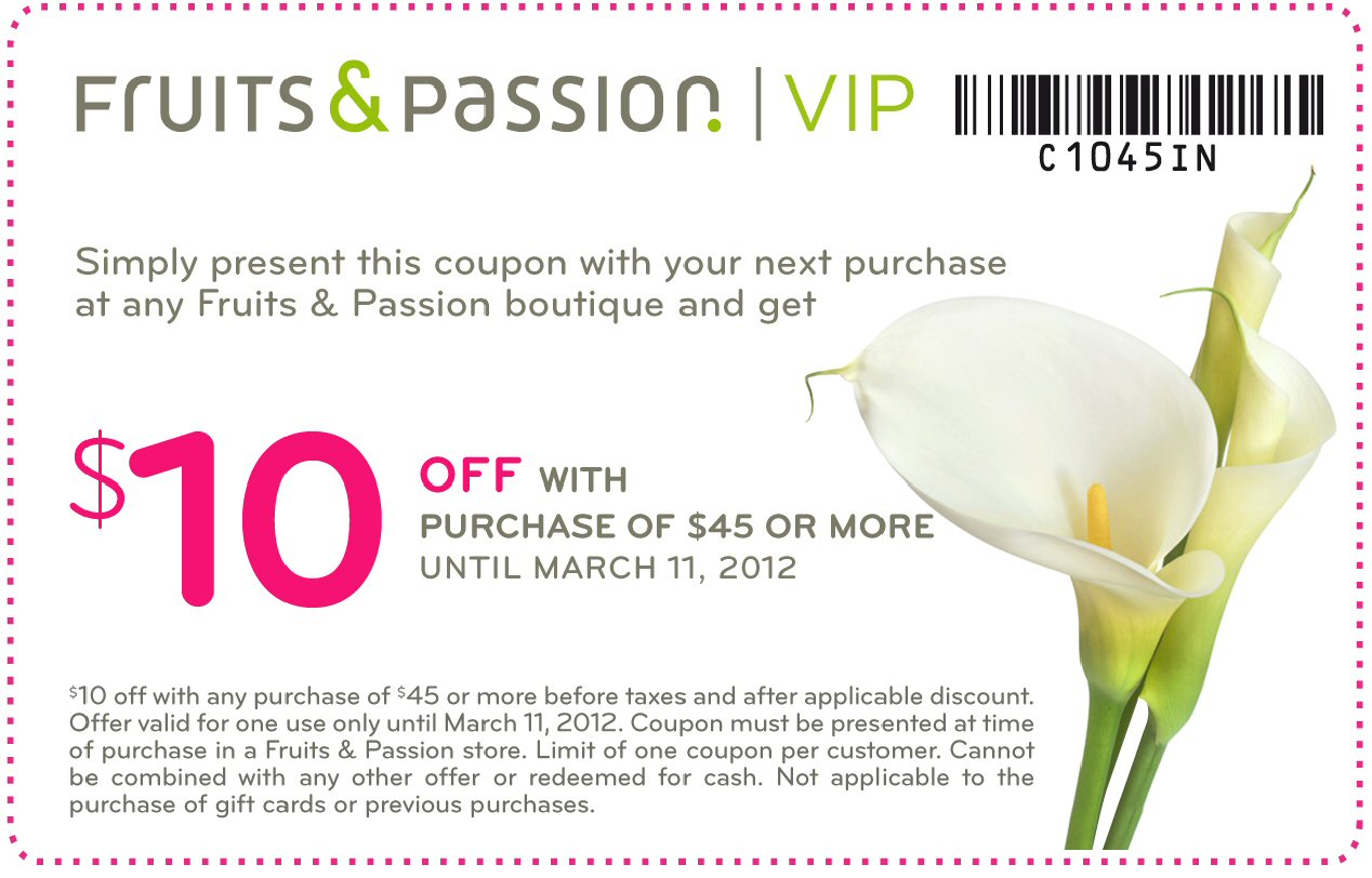 Fruits and passion coupons 2018