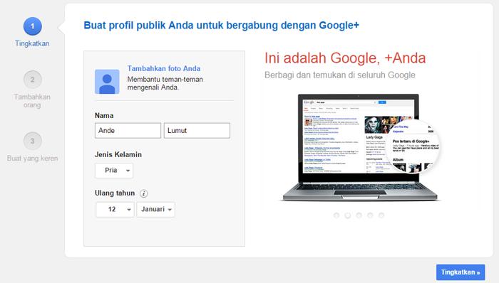 membuat google+