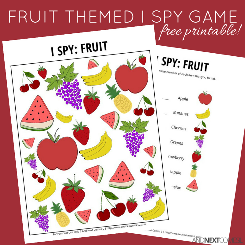 free printable fruit themed i spy game for kids from and next comes l - Free Printable Pictures For Kids
