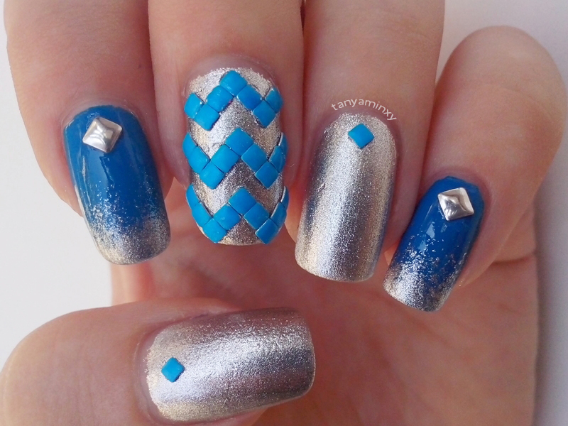 Chevron Studs Nails Neon Studs Nail Art Blue Silver Nails BPS KKCenterHk