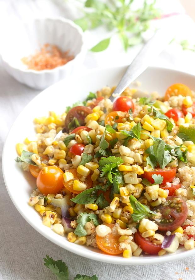 Charred Sweet Corn & Tomato Quinoa Salad recipe with Sriracha-Lime Sea Salt by SeasonWithSpice.com