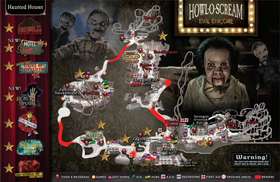 Image Result For Busch Gardens Hallowscream Map