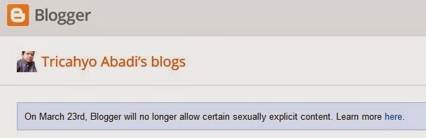 Blogger melarang blog publik yang mengandung konten porno
