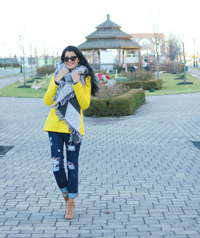 DIY Distress Denim, JCrew Majesty Pea Coat, Jcrew Yellow Coat, Yellow Winter Coat, Blanket Scarf
