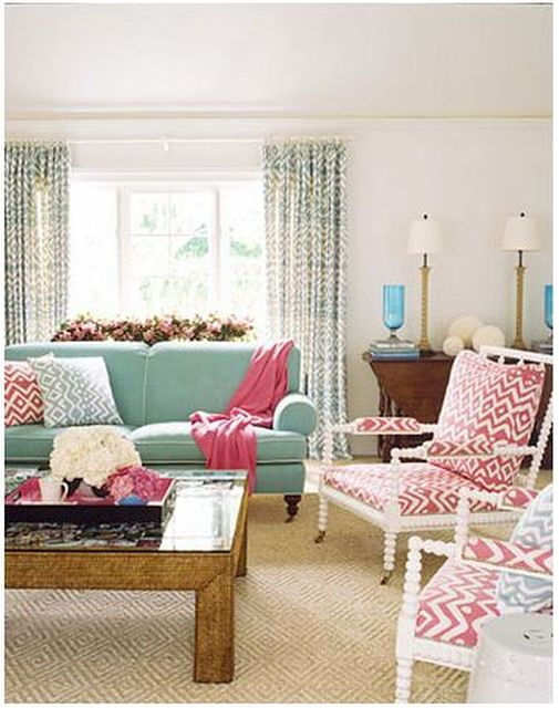 Lovely Pink And Turquoise Living Room