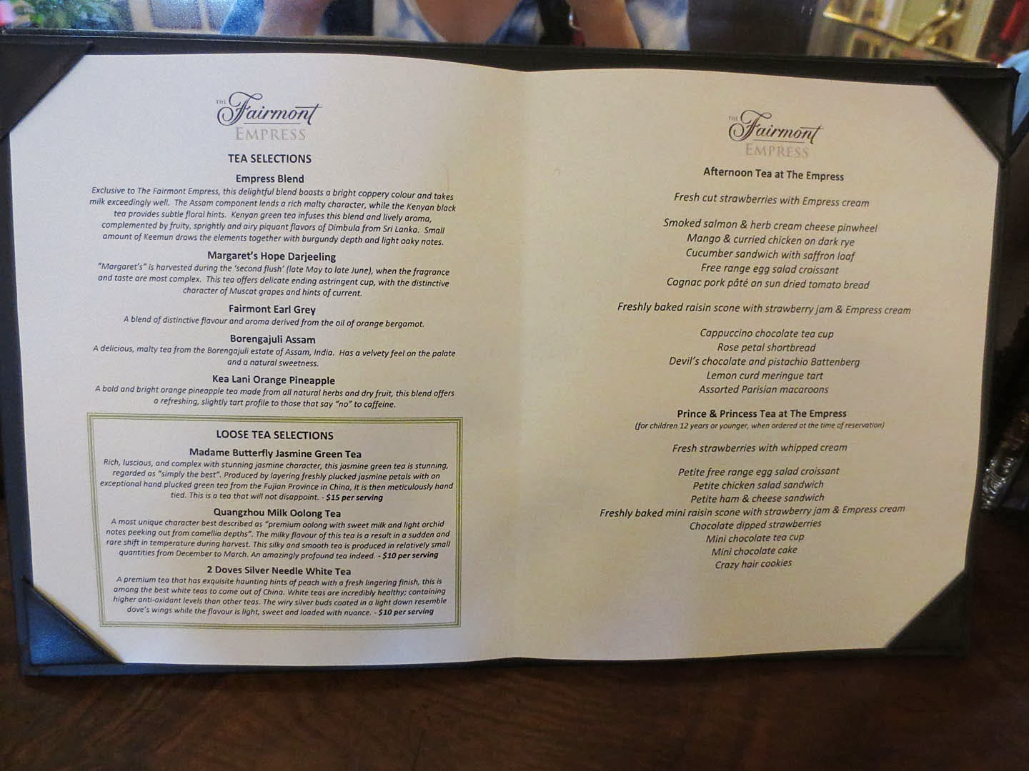 Empress Hotel Afternoon Tea Menu