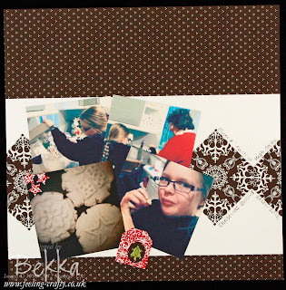 Scrapbook Page featuring the Candlelight Christmas Papers from Stampin' Up! This page was made for the Feeling Crafty Scrapbook Club - find out more about it here