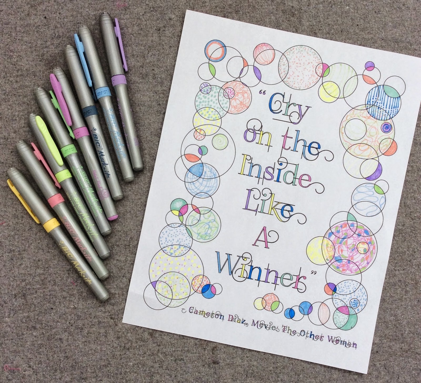 cry on the inside, adult coloring page, stefanie girard, quote, lettering type, bubbles, bic markers