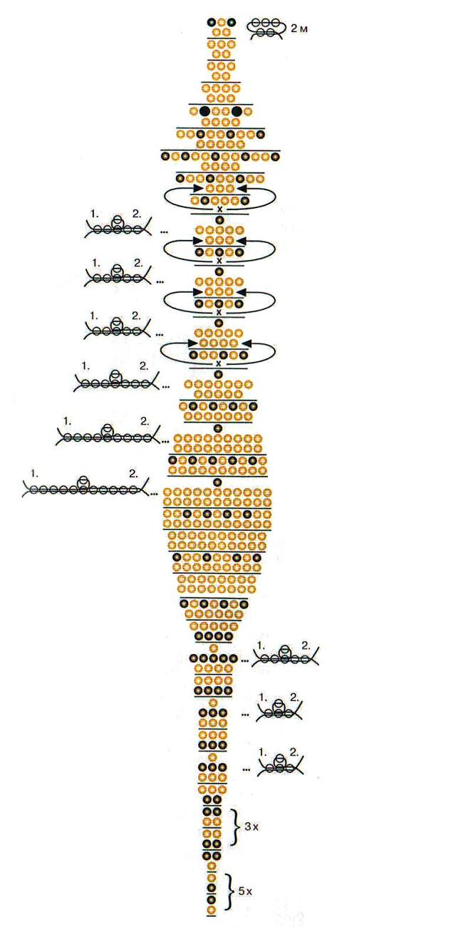 схема плетения бисером морской конек