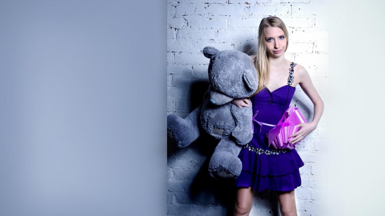 Blonde Model with Teddy Bear