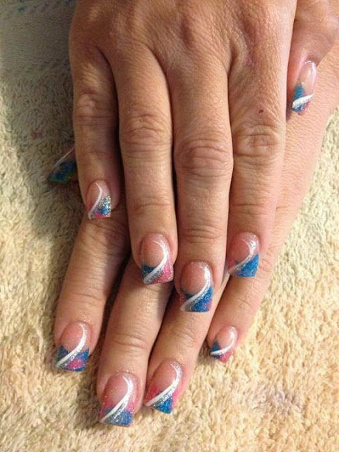 acrylic sculpts with pink - blue glitz; builder gel overlay with white - silver gel swirl acrylic backfill LED polish  Pedicure  Gel-Nails-Polish-LED-Polish-LED-Nails-Manicure-Acrylic-Nails-Nail-Art