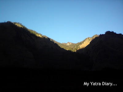 Mountains and sunrise in the Garhwal Himalayas