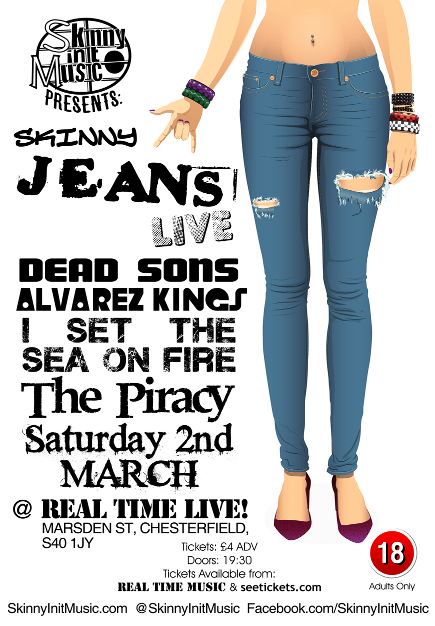 Poster design jeans - Two Different Promotional Flyer And Poster Designs For Skinny Init Music Featuring The B W Version Of Their New Logo The Second Design Is The One They
