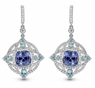 Tanzanite and Aquamarine Diamond Drop Earrings